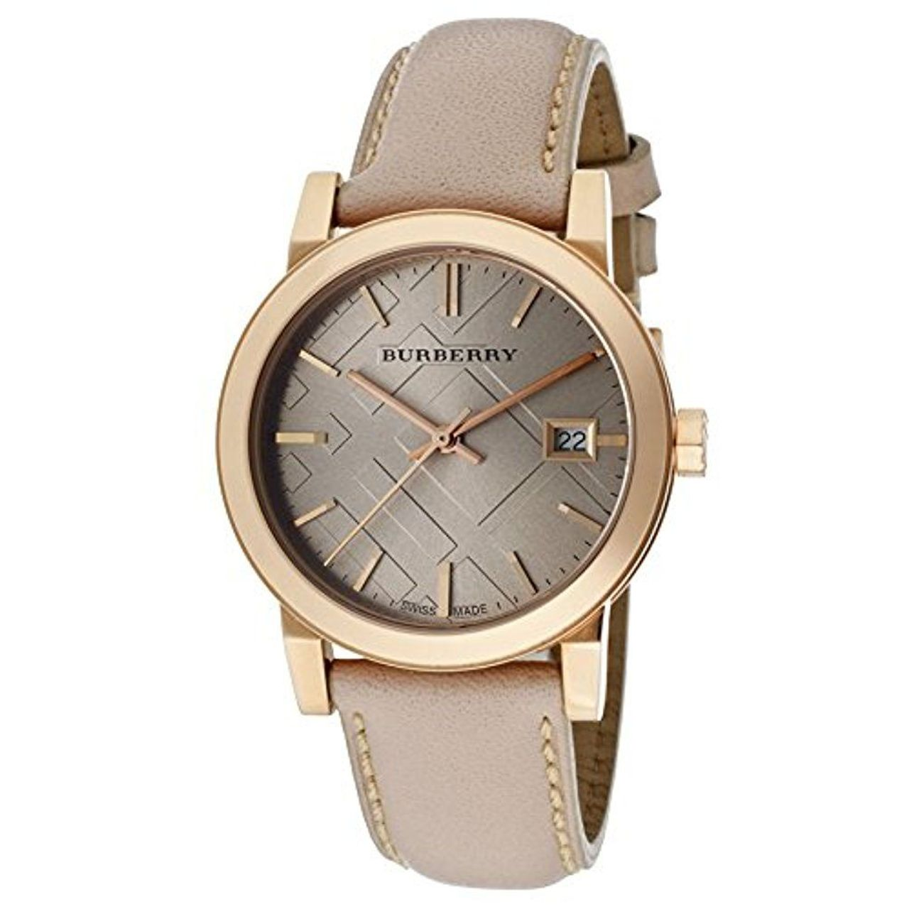 Burberry bu9109 womens beige dial quartz watch with leather strap ebay for Burberry watches