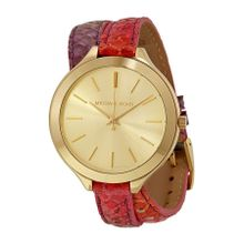 Michael Kors MK2390 Womens Gold Dial Analog Quartz Watch with Leather Strap