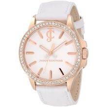 Juicy Couture 1900968 Womens White Dial Analog Quartz Watch with Leather Strap