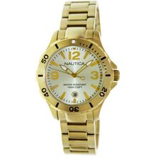 Nautica N21532M Mens Gold Dial Analog Quartz Watch with Gold Strap