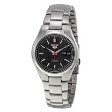 Seiko SNK607 Mens Black Dial Analog Automatic Watch with Stainless Steel Strap