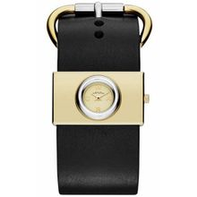 Women's Gold Tone Marc Jacobs VIV Black Leather Watch MBM1394