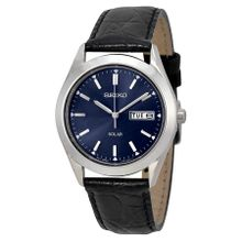 Seiko Solar SNE049 Mens Blue Dial Analog Quartz Watch with Leather Strap
