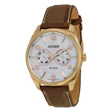 Citizen AO9023-01A Mens Silver Dial Analog Quartz Watch with Leather Strap