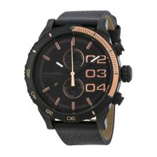 Double Down Chronograph Black Dial Black Leather Men's Watch