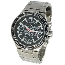 Guess U20001G1 Mens Black Dial Analog Quartz Watch with Stainless Steel Strap