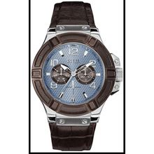 Guess U0040G10 Men's Multi-function Brown Leather Band Watch