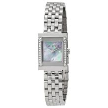 Gucci YA128404 Womens G-Frame Mother of Pearl Dial Stainless Steel Diamond Watch
