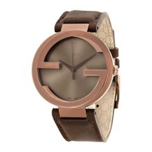 Gucci YA133207 Mens Brown Dial Analog Quartz Watch with Leather Strap