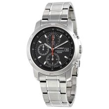Seiko SNDB03 Mens Black Dial Analog Quartz Watch with Stainless Steel Strap