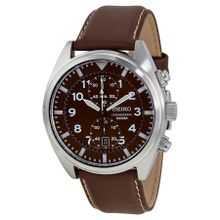 Seiko SNN241 Mens Brown Dial Analog Quartz Leather Strap Watch