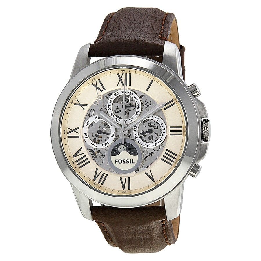 men s watches fossil me3027 mens grant white dial analog fossil me3027 mens grant white dial analog automatic watch leather strap