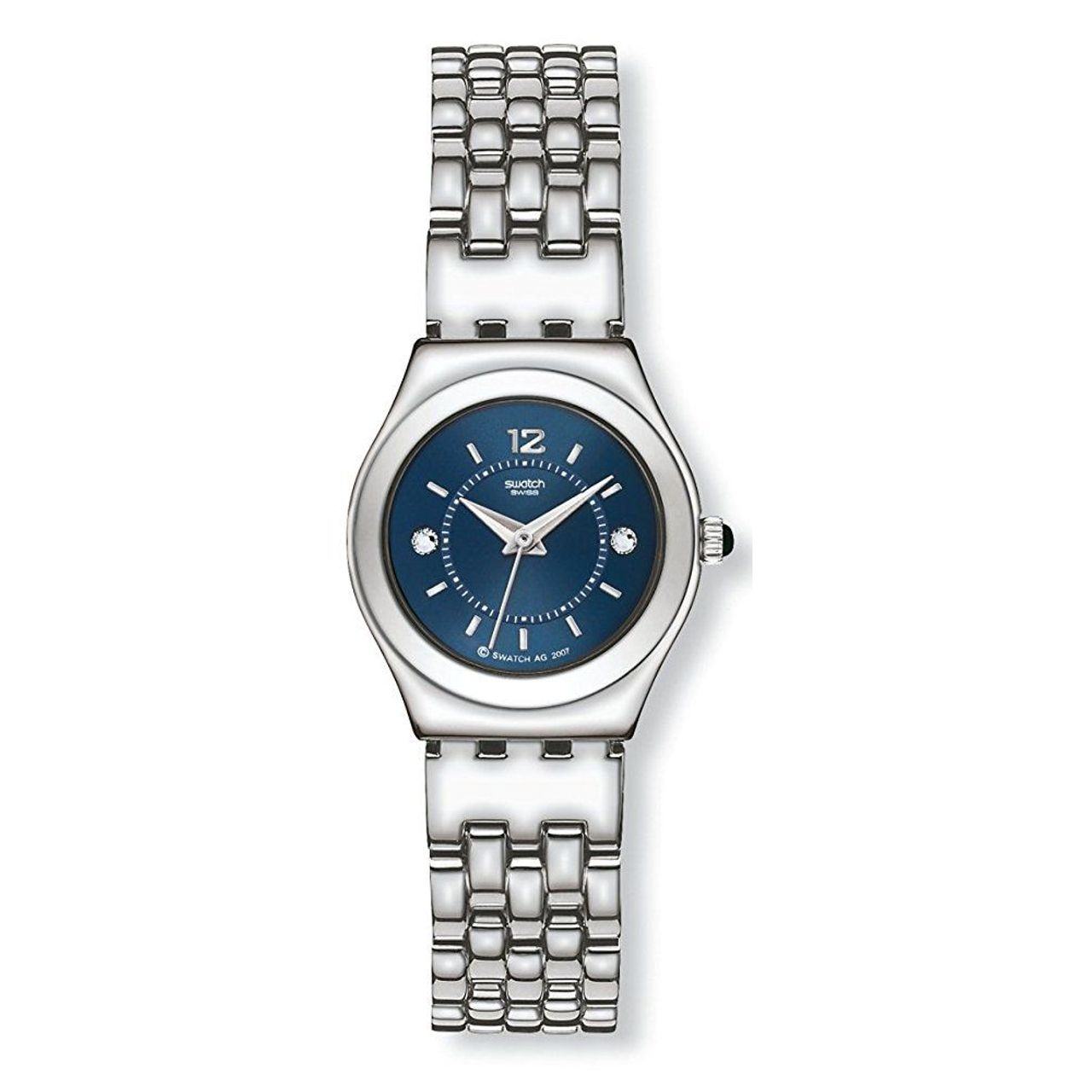Swatch YSS225G Womens Blue Dial Analog Quartz Watch with Stainless Steel Strap