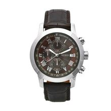GUESS Men's W13087G2 Steel Brown Leather Brown Chronograph Dial Watch