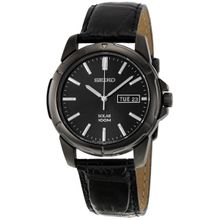 Solar Black Dial Black Leather Band Solar Men's Watch