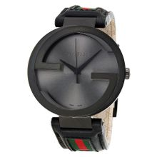 Gucci YA133206 Interlocking G Mens Black Dial Analog Quartz Leather Strap Watch