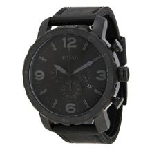 Fossil JR1354 Nate Mens Black Dial Analog Quartz Leather Strap Watch