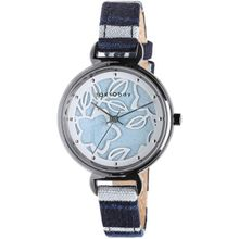 TOKYObay Tenji Womens Stainless Steel Case Blue Leather Blue Dial Silver  Watch
