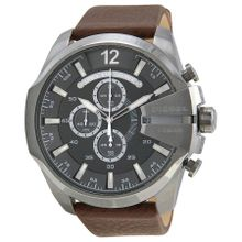 Diesel Mega Chief DZ4290 Mens Grey Dial Analog Quartz Watch with Leather Strap