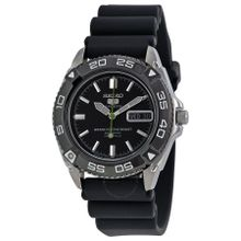 Seiko Seiko 5 SNZB23J2 Mens Black Dial Analog Automatic Watch with Rubber Strap