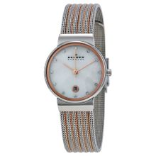 Skagen 355SSRS Womens Mop Dial Analog Quartz Stainless Steel Watch