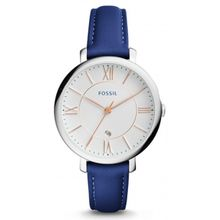 Fossil ES3986 Womens Stainless Steel Case White Dial Blue Leather Strap Round Analog  Watch