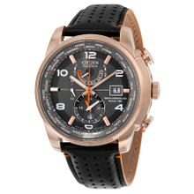 Citizen AT9013-03H Mens Grey Dial Analog Quartz Watch with Leather Strap