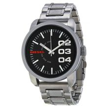 Diesel DZ1370 Mens Black Dial Analog Quartz Watch with Stainless Steel Strap