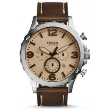 Fossil JR1512 Mens Stainless Steel Case Brown Leather Strap Round Analog Watch