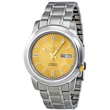 Seiko SNKK13 Mens Gold Dial Analog Automatic Watch with Stainless Steel Strap