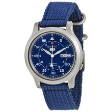 Seiko Seiko 5 SNK807 Mens Blue Dial Analog Automatic Watch with Canvas Strap