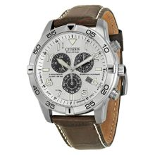 Citizen BL5470-06A Mens Silver Dial Analog Quartz Watch with Leather Strap