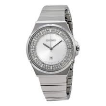 Seiko SXDF71 Womens Silver Crystal-set Dial Analog Quartz Watch