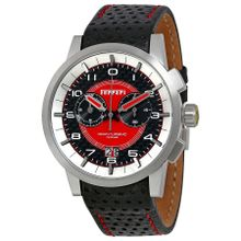 Ferrari FE-11-ACC-CP-FC Mens Red Dial Analog Quartz Watch with Leather Strap