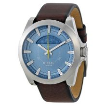Diesel DZ1661 Mens Blue Dial Analog Quartz Watch with Leather Strap