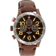 Nixon A3631625 Mens Brown Dial Analog Quartz Watch with Leather Strap