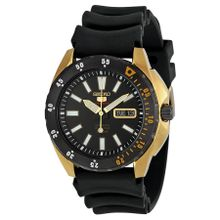 Seiko SRP364 Mens Seiko 5 Black Dial Analog Automatic with Rubber Strap Watch