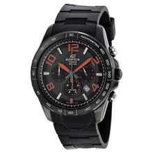 Casio EFR516PB-1A4 Edifice Mens Black Dial Analog Quartz Watch with Rubber Strap