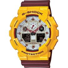 Casio G-Shock Analog Digital Burgandy Watch GA100CS-9A