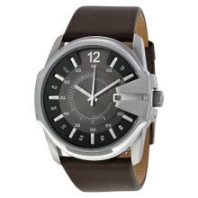 Diesel DZ1206 Mens Grey Dial Analog Quartz Watch with Leather Strap