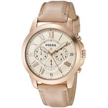 Fossil FTW10021 Fossil Q Grant Chronograph Sand Rose Gold-Tone Watch with Tan Leather Band
