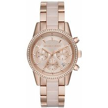 Women's Michael Kors Glitz Rose Gold Chronograph Crystalized Watch MK6307