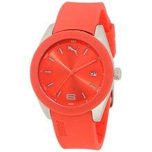 Puma PU102712007 Womens Red Dial Analog Quartz Watch with Rubber Strap