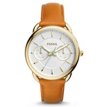 Fossil ES4006 Womens Gold Stainless Steel White Dial Brown Leather Strap Round  Watch