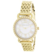 Anne Klein AK/2086MPGB Womens Pearl Dial Gold Tone Metal Bracelet Quartz Watch