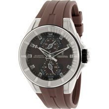 Festina F16611/2 Mens Brown Dial Analog Quartz Watch with Silicone Strap