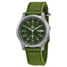 Seiko Seiko 5 SNK805 Mens Green Dial Analog Automatic Watch with Canvas Strap