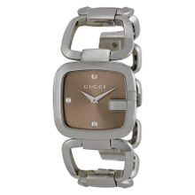 Gucci YA125401 Womens Brown Dial Analog Quartz with Stainless Steel Strap Watch