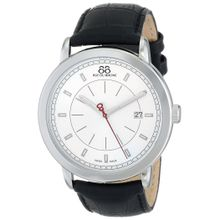 88 Rue du Rhone Double 8 Origin Silver Dial Black Leather Men's Watch