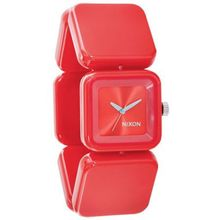Nixon A107200-00 Womens Red Dial Analog Quartz Watch with Resin Strap